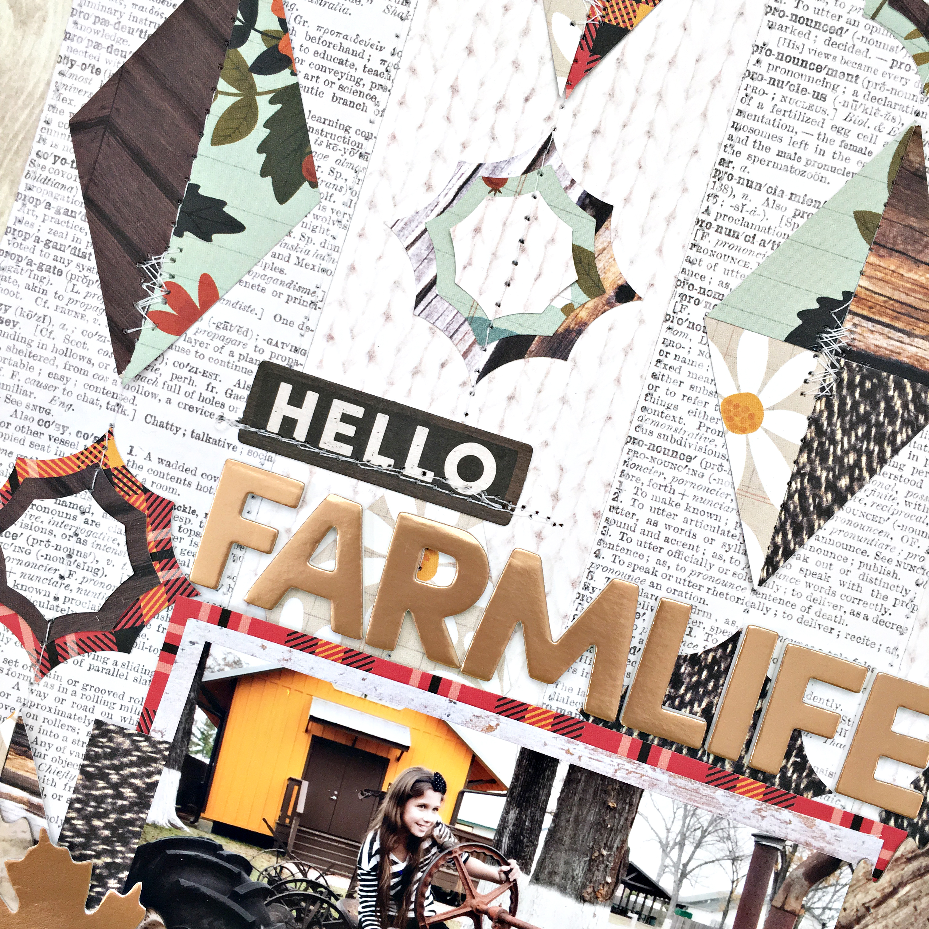 Hello Farmlife Geometric Shapes Scrapbooking Layout Title and Free Cut File by Heather Leopard