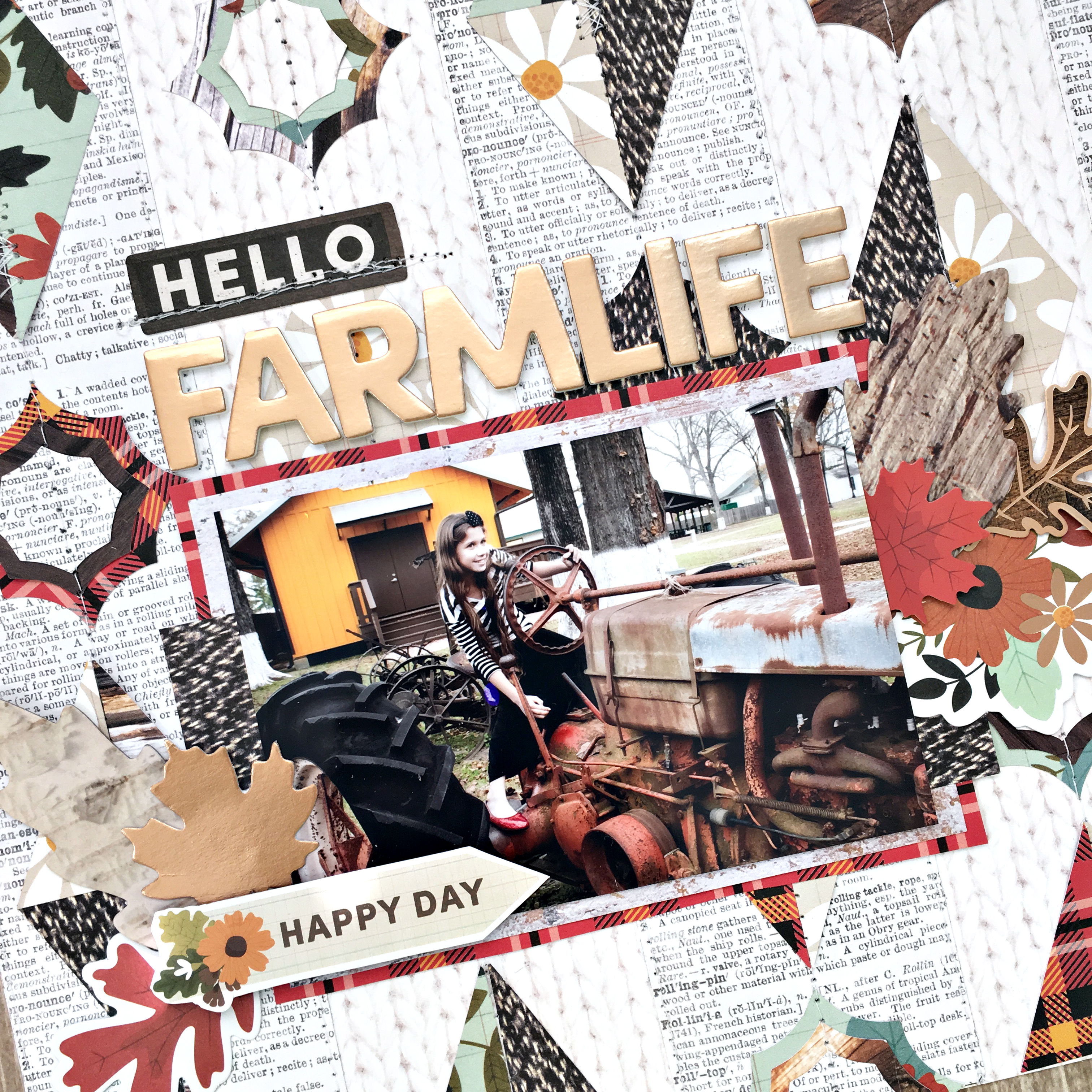 Hello Farmlife Geometric Shapes Scrapbooking Layout photo and Free Cut File by Heather Leopard