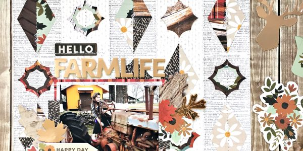 Hello Farm Life Scrapbooking Layout and Free Cut File