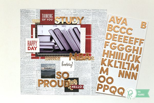 @evapizarrov shares a quick tutorial for an adult Back to School layout with @pebblesinc new line #WarmandCozy