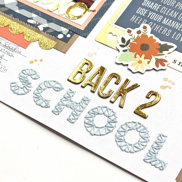 A Back To School layout with a fun String Art title by @MoniqueLiedtke using the #DIYHome collection from @PebblesInc.