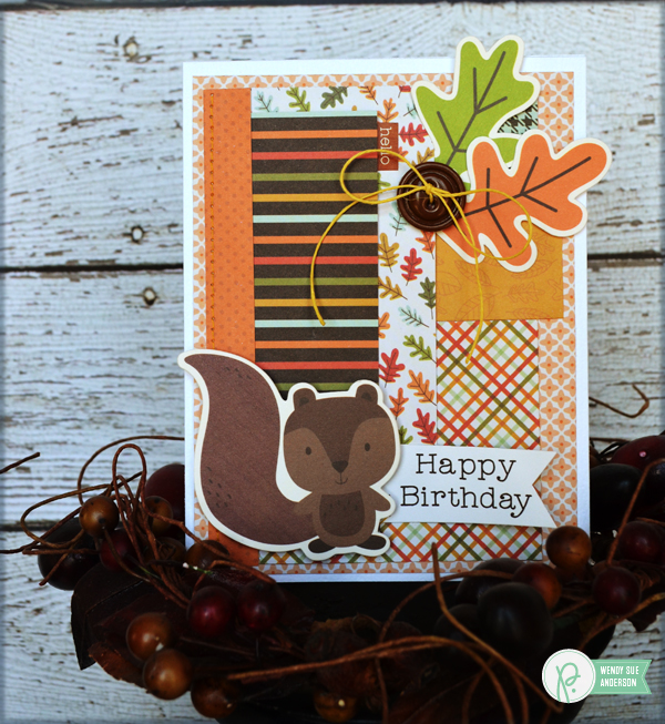 "Happy Birthday Card set with wrap for gifting by @wendysuea with the ""Woodland Forest"" collection from @PebblesInc."
