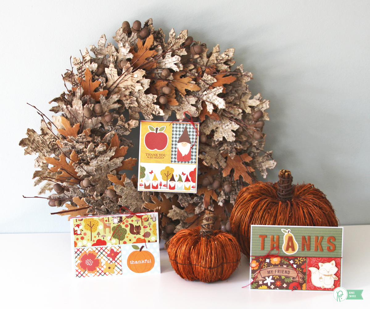 Fall themed Thank You cards by @reneezwirek using the #WoodlandForest collection by @pebblesinc