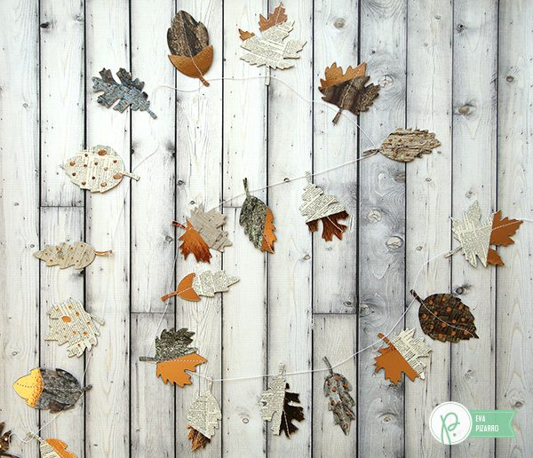 Decorate your home with this easy Leaves Garland made by @evapizarrov with the new @pebblesinc and @tatertotsandjello line #warmandcozy and the #minc