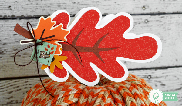 "Autumn colors shaped leaf cards by @wendysue for @pebblesinc with the ""Woodland Forest"" collection"