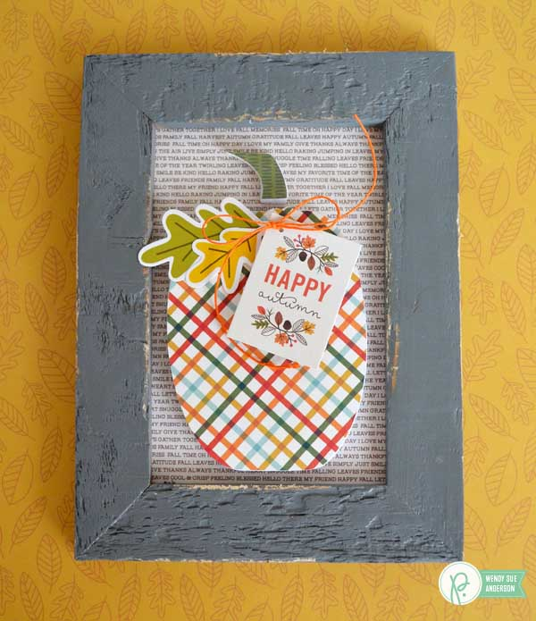 Create a quick and easy home decor gift with a few simple steps! Framed pumpkins by @wendysue with the #WoodlandForest and #TrickOrTreat Collections by @Pebblesinc.