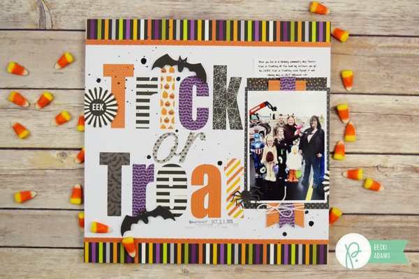 Halloween Layout by @jbckadams for @Pebblesinc using the new Trick or Treat collection #Halloween #Pebblesinc #scrapbooking