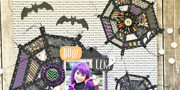 BOO, EEK…Trick or Treat Halloween Layout + Free Cut File
