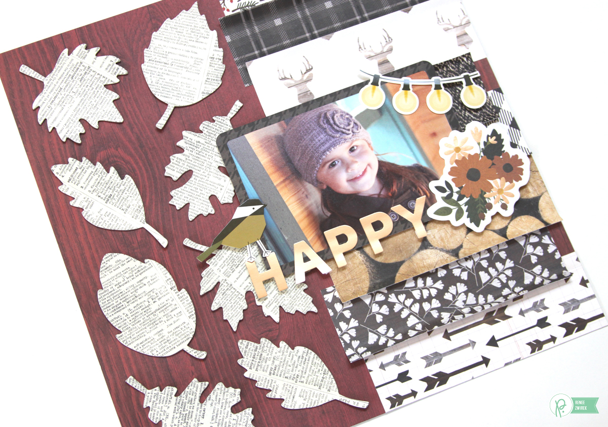 Love all the pattern papers used on this Happy layout by @reneezwirek using the #pbwarmandcozy collection by @pebblesinc and @Tatertots and Jello .com