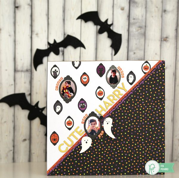 Paper piece your favorite patterned paper and create this spooky layout with the new Halloween collection #TrickorTreat from @pebblesinc and this tutorial from @evapizarrov