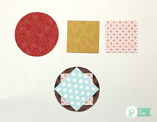 Create a beautiful quilt inspired layout using just circles and squares with this tutorial from @evapizarrov using the new #Woodlandforest collection by @pebblesinc