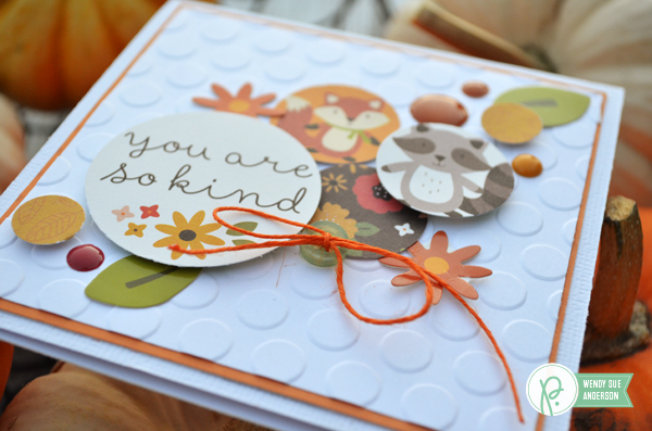 Square cards full of Circles by @WendySue featuring the #WoodlandForest collection from @PebblesInc.