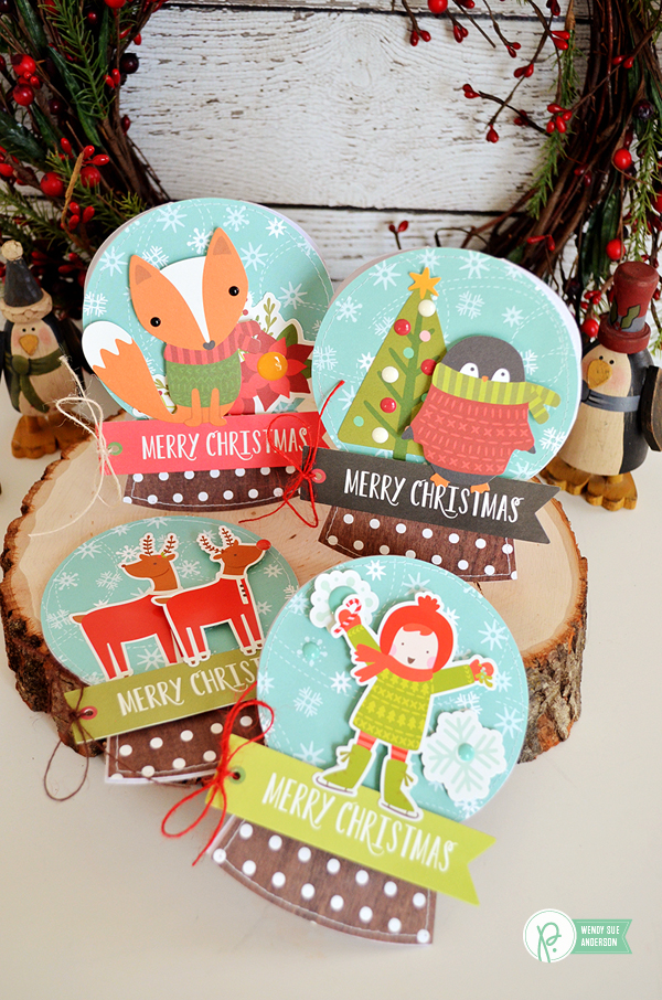 """Create your own snowglobe card set by @wendysue featuring the """"HollyJolly Collection by @PebblesInc"""