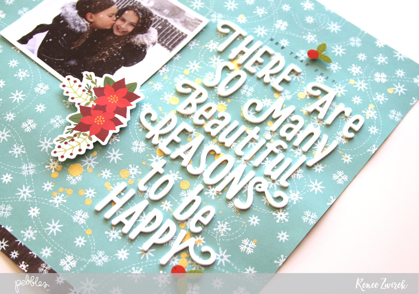 Create an uplifting layout for the new year using a favorite photo and quote with this Be Happy Layout by @reneezwirek using the #HollyJolly collection by @pebblesinc