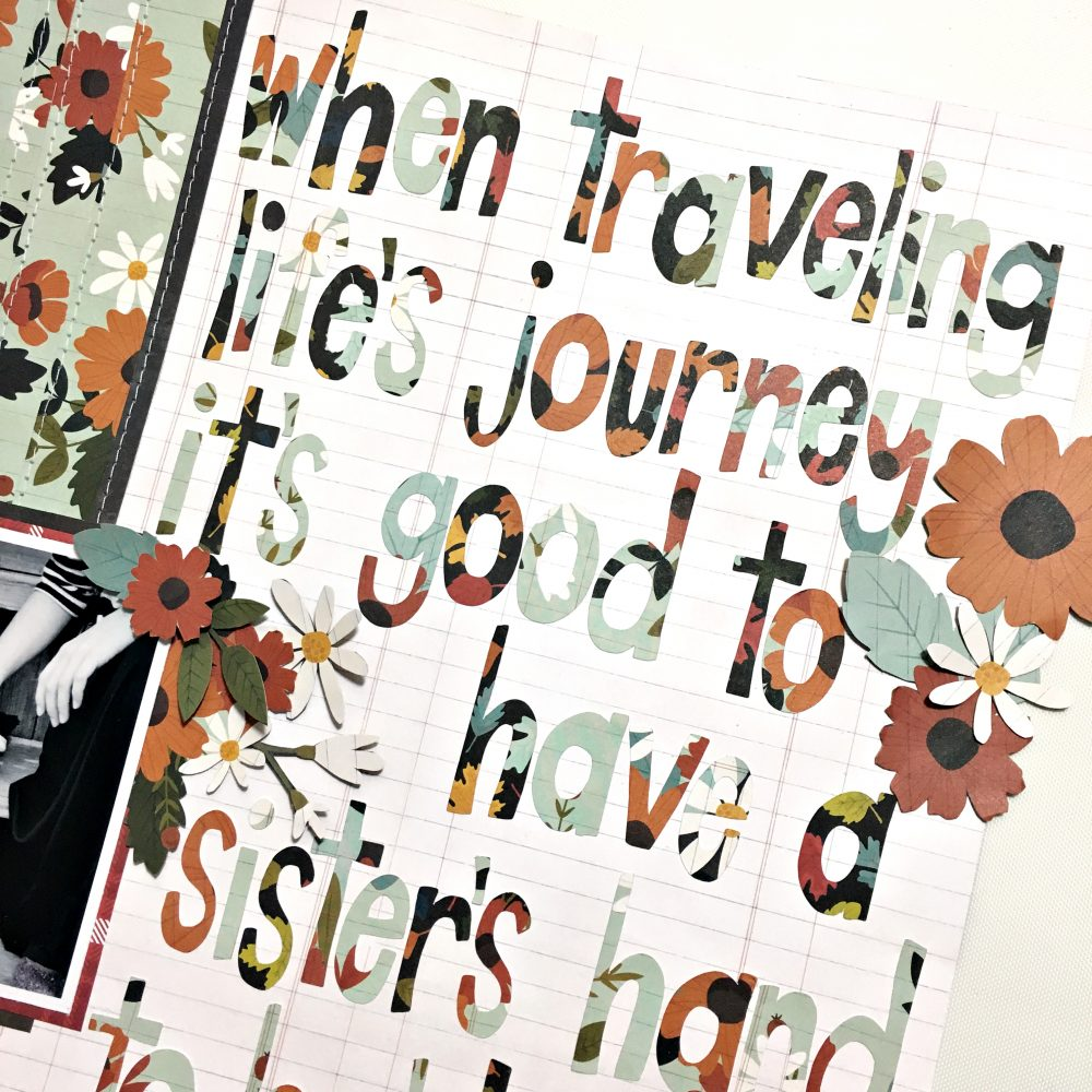 Use a quote on your layout like this one by @heatherleopard using the #WarmAndCozy collection from @PebblesInc.