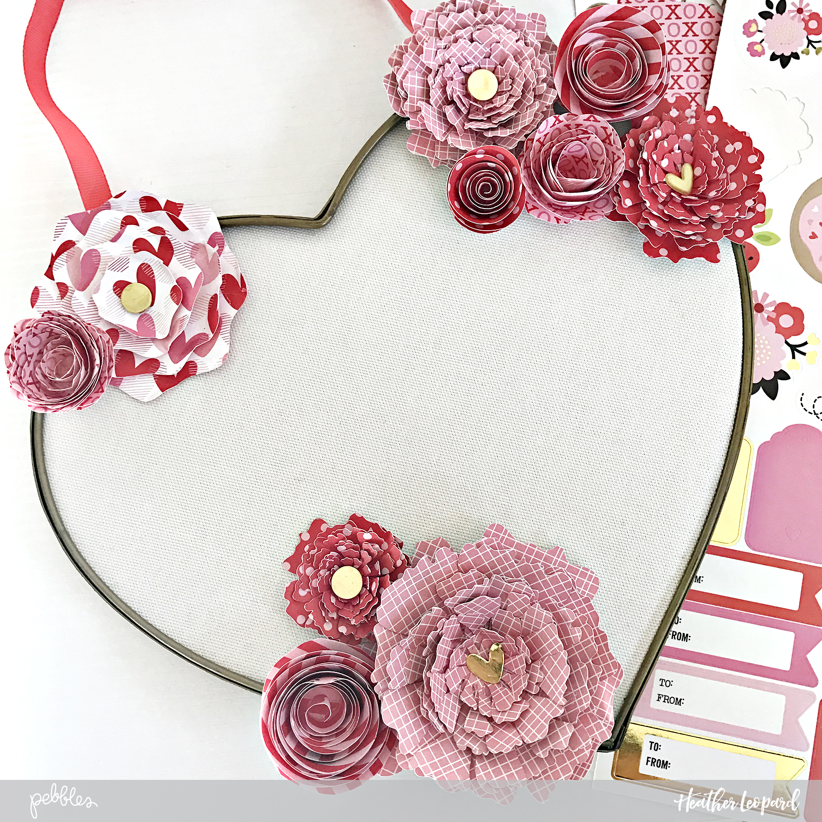 "Easy DIY Home Décor and Valentine's Day display by @heatherleopard created using the ""My Funny Valentine"" collection by @PebblesInc"