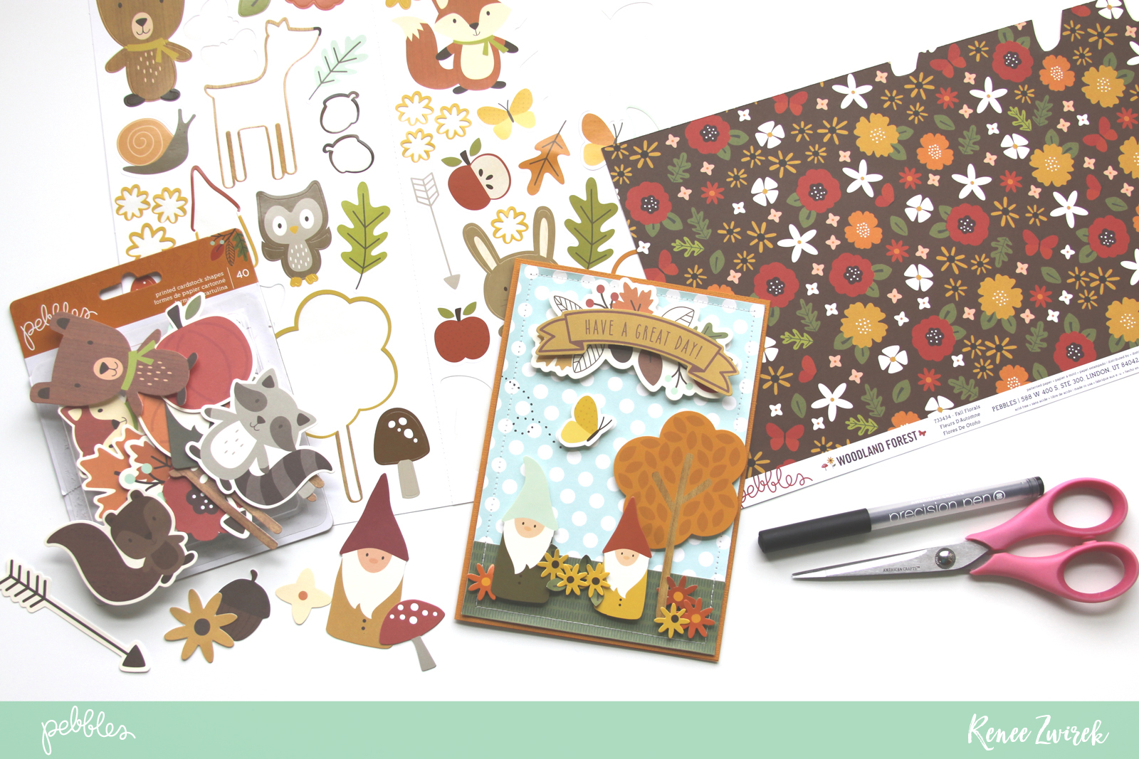 Get ready and organized for the new year with a fresh stash of Greeting Cards created for family and friends by @reneezwirek using the #WoodlandForest collection by @pebblesinc