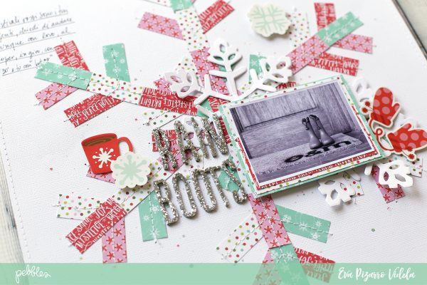 Create a gorgeous snowflake layout with this tutorial from @evapizarrov and the #HollyJolly line from @pebblesinc #pebblesinc #scrapbook #layout