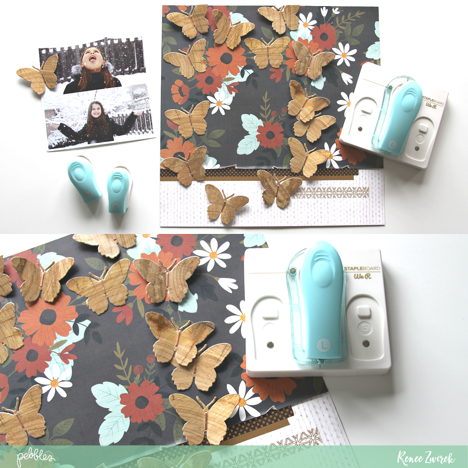 Scrapbook some of your favorite winter photos using a non traditional collection with this Welcome Winter's Butterflies Layout by @reneezwirek using the #pbwarmandcozy collection by @pebblesinc and @Tatertots and Jello .com