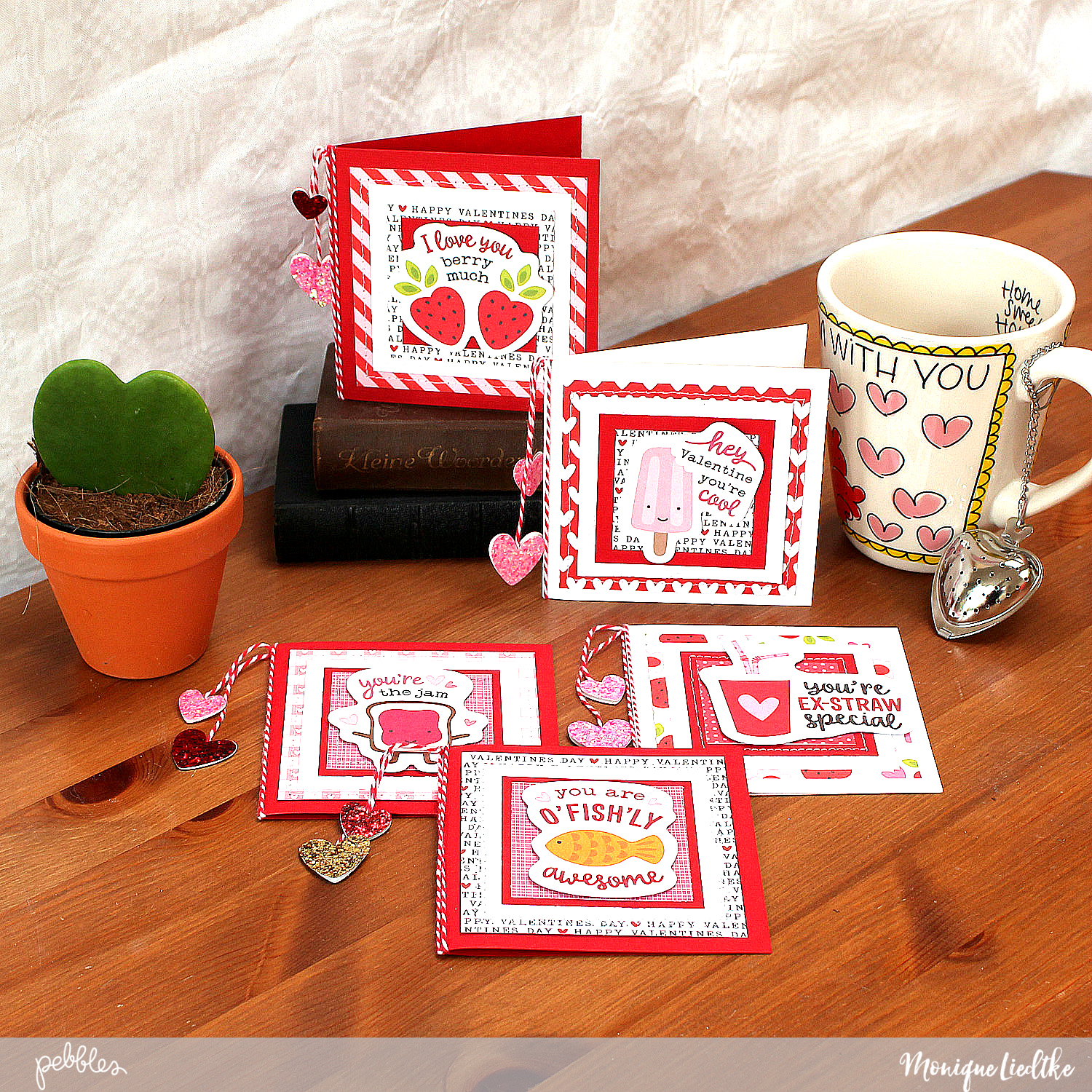 Valentines Cards made by @MoniqueLiedtke using the #MyFunnyValentine collection from @PebblesInc.