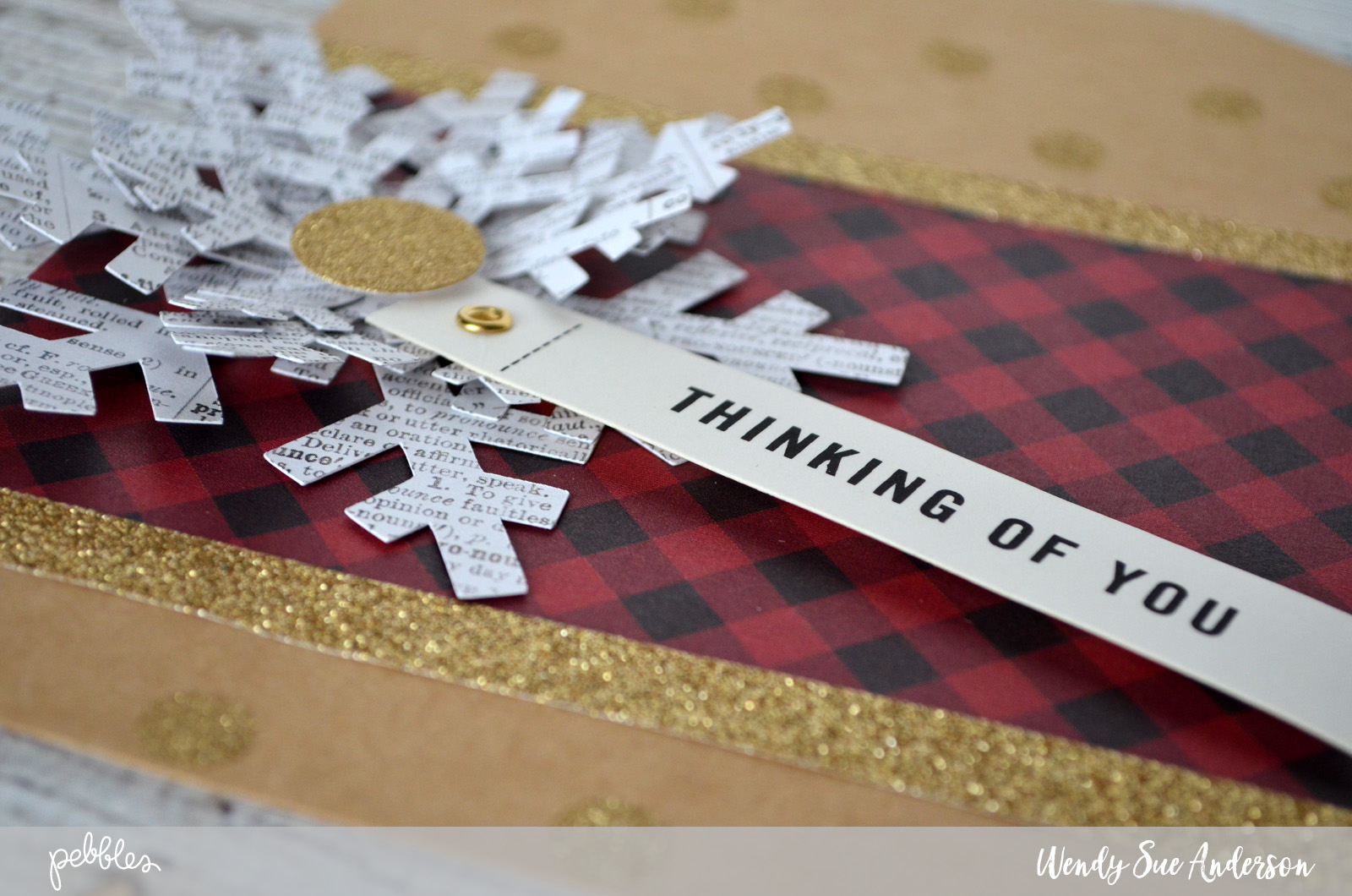 """Create a snowflake themed gift bag like this one by @wendysue using the """"warm & cozy"""" collection and a few fun embellishments from the """"home+made"""" collections by @pebblesinc"""