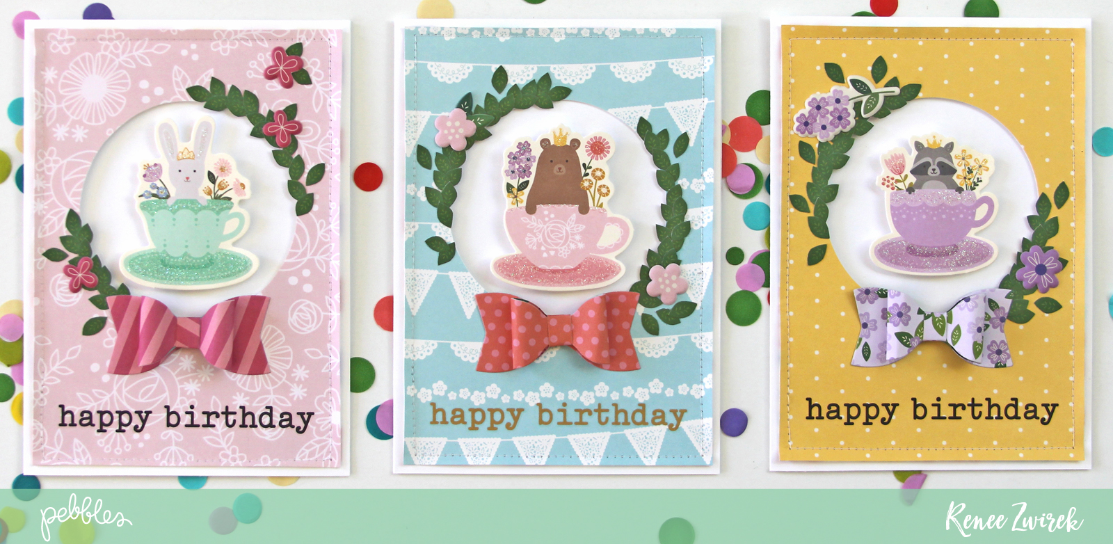 Send birthday wishes with a bit of whimsy with these lovely Happy Birthday cards by @reneezwirek using the #Tealightful collection by @pebblesinc