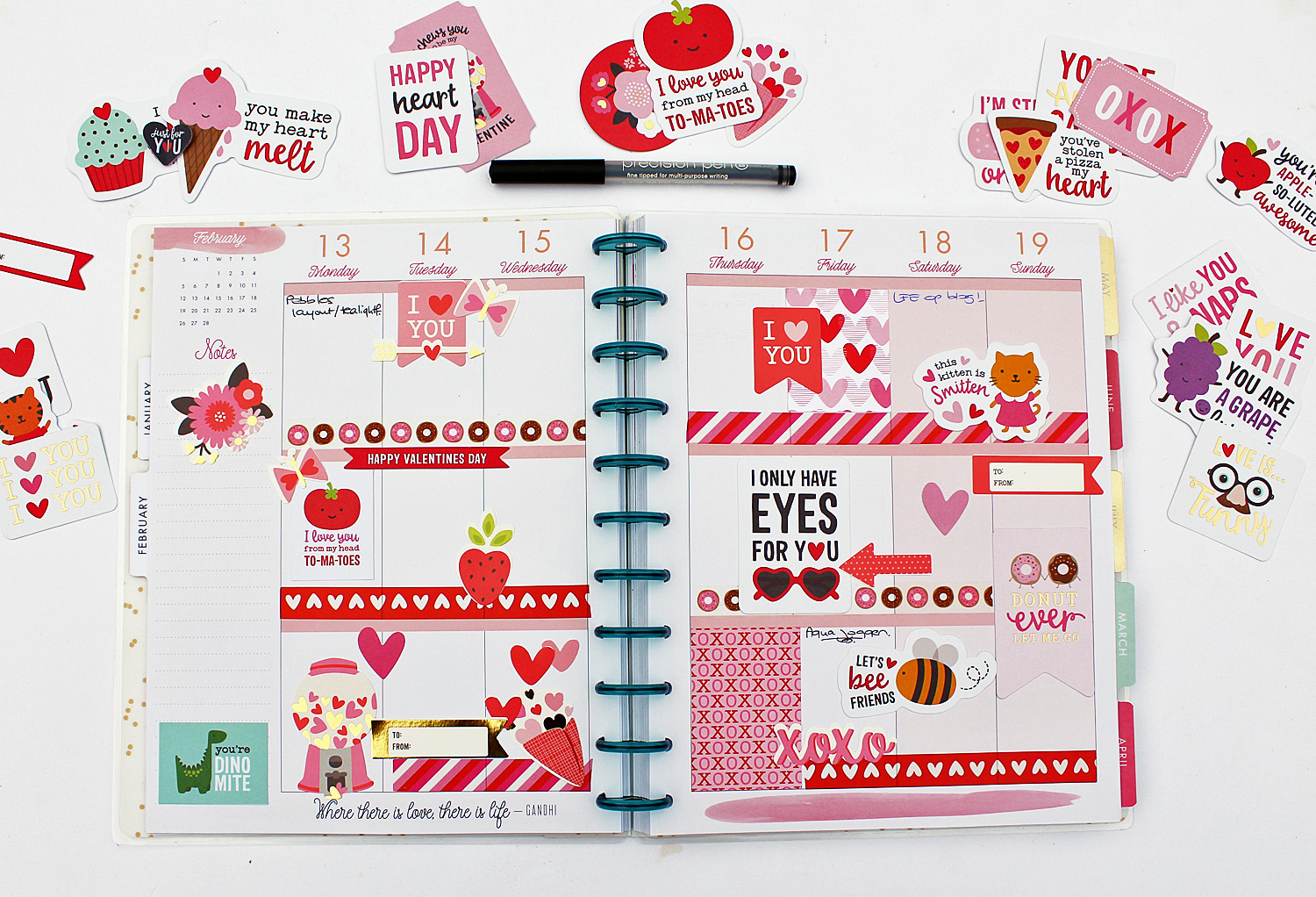 Valentine Planner Fun by @MoniqueLiedtke using the #MyFunnyValentine collection from @PebblesInc.