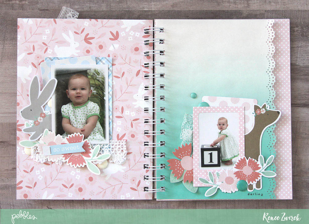 Create a mini album using your favorite photos from baby's first year like this sweet 1 Year Mini Album by @reneezwirek using the #Lullaby collection by @pebblesinc