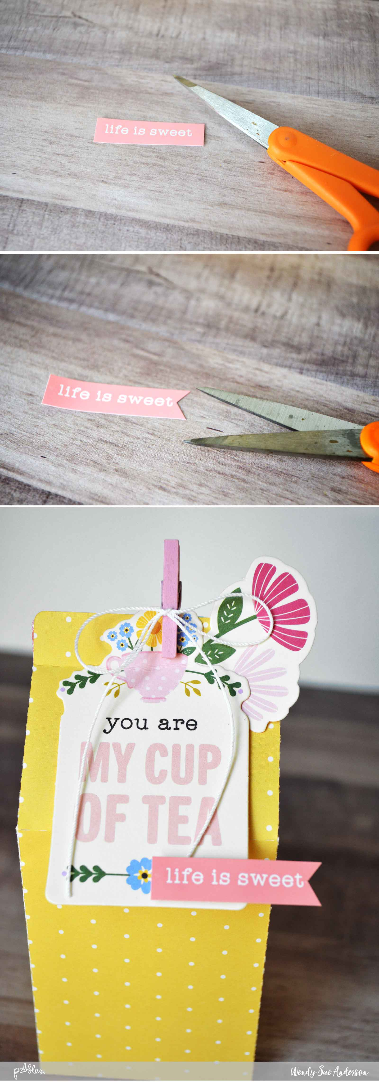 "Quick Spring Gift Project by @Wendysue with the ""Tealightful"" collection by @PebblesInc."
