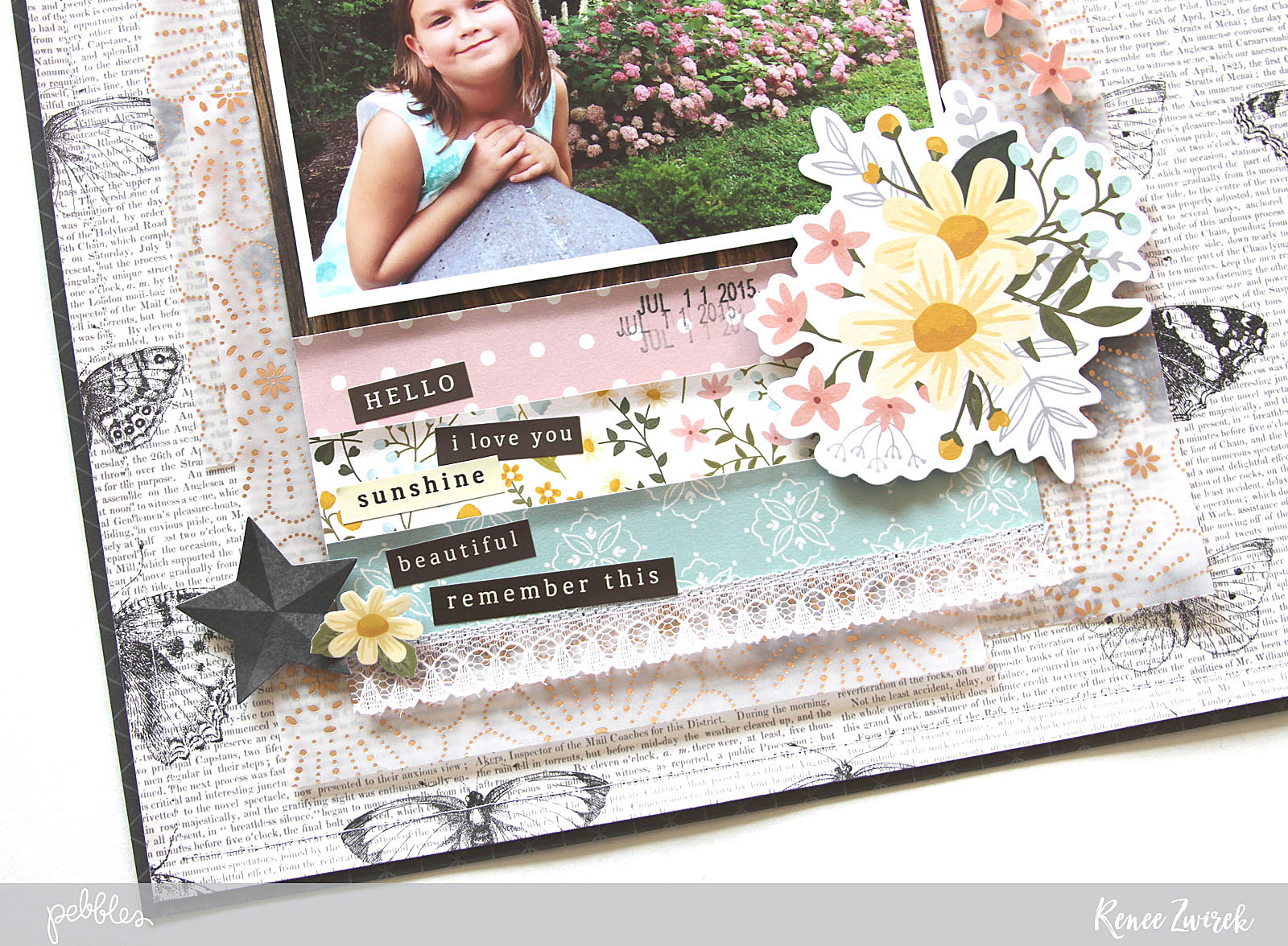 Scrapbook some of your favorite and very lovely outdoor play photos with this Love Layout by @reneezwirek using the #SimpleLife collection by @pebblesinc and @Tatertots and Jello .com