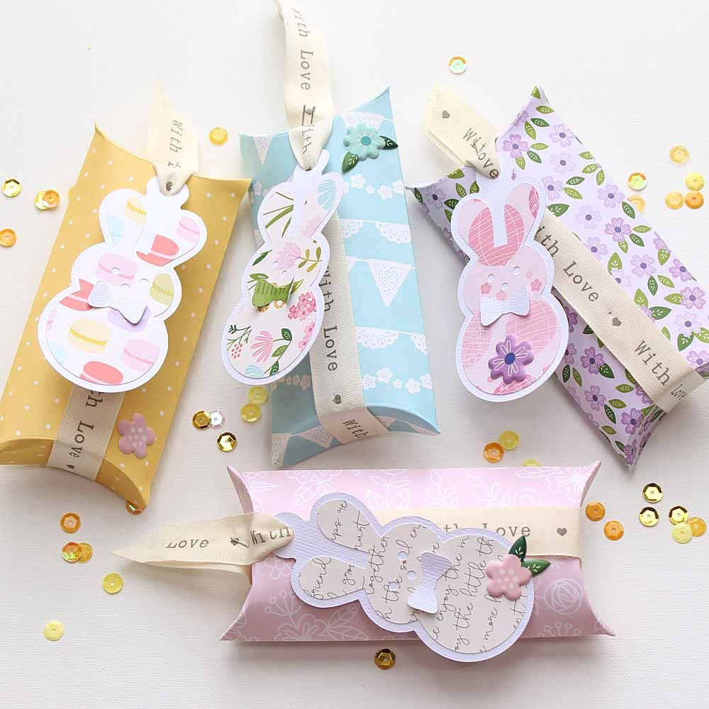 "Cute little Easter Gift Boxes by @moniqueliedtke with the ""Tealightful"" collection by @PebblesInc #madewithpebbles #pebblesinc #gift_box"
