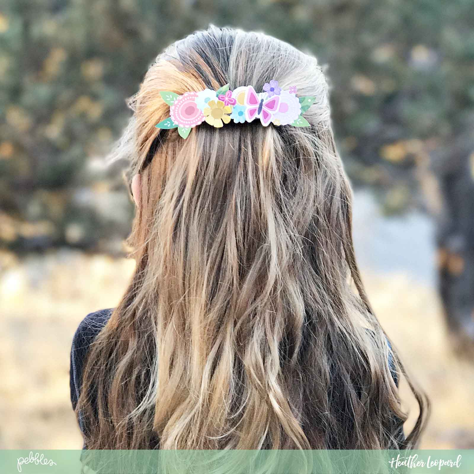 DIY Floral Barette by @HeatherLeopard using @pebblesinc #Tealightful and #simplelife collection