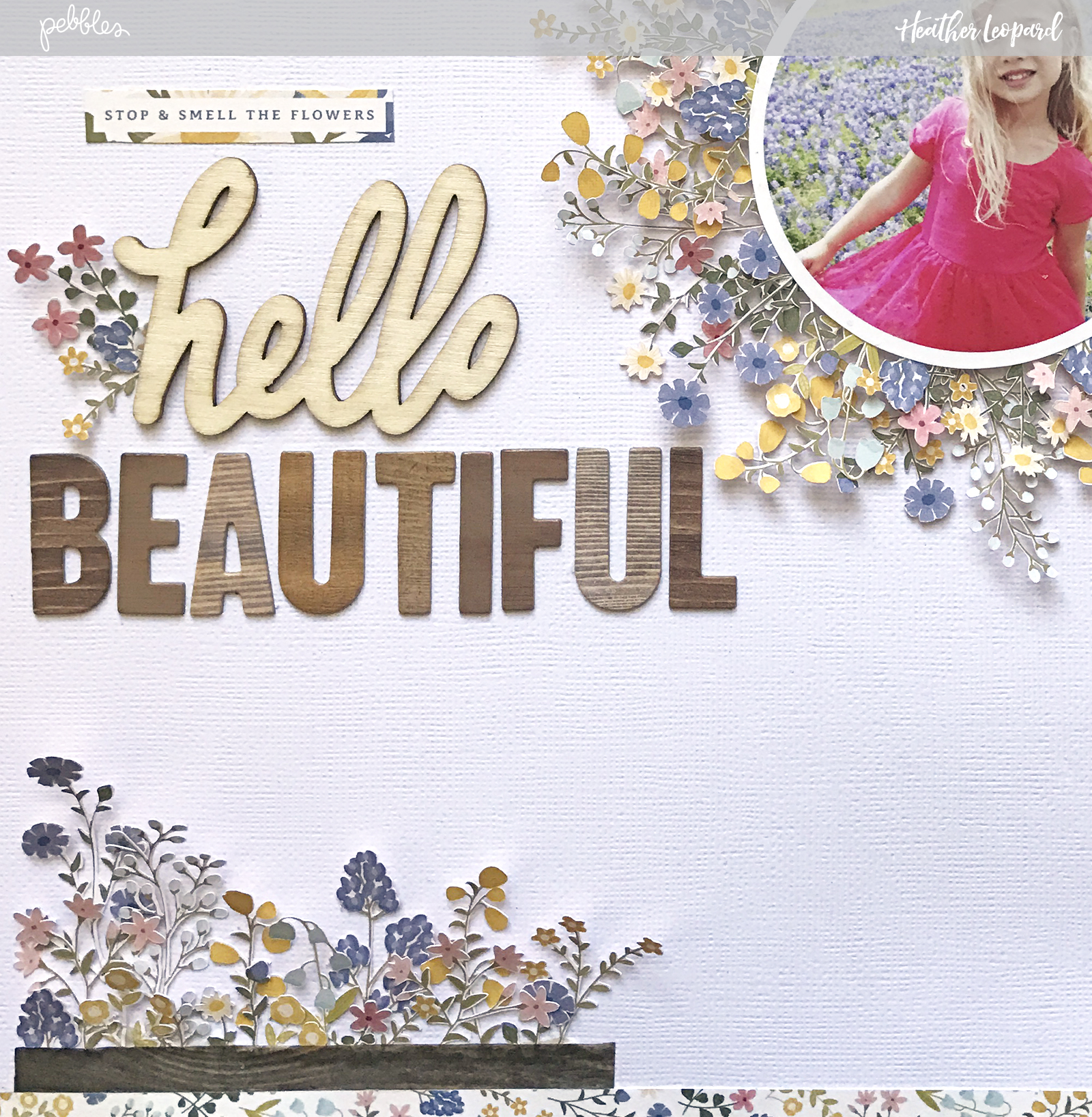 Fussy cut flowers layout by @heatherleopard using the new #SimpleLife collection by @pebblesinc #madewithpebbles #pebblesinc #scrapbook #layout