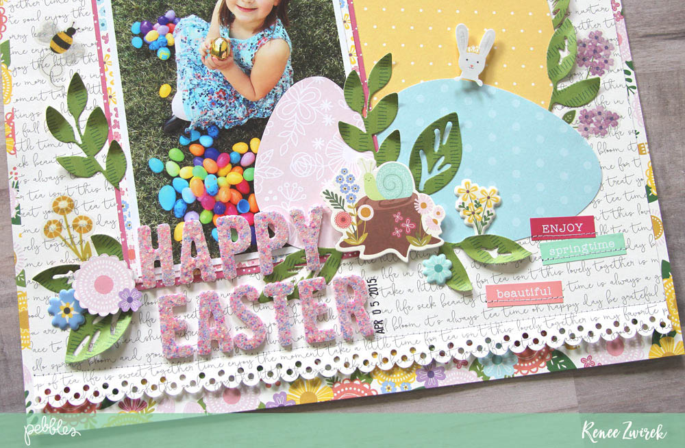 Document the joy and fun of the Easter egg hunt with this Happy Easter layout by @reneezwirek using the #Tealightful collection by @pebblesinc