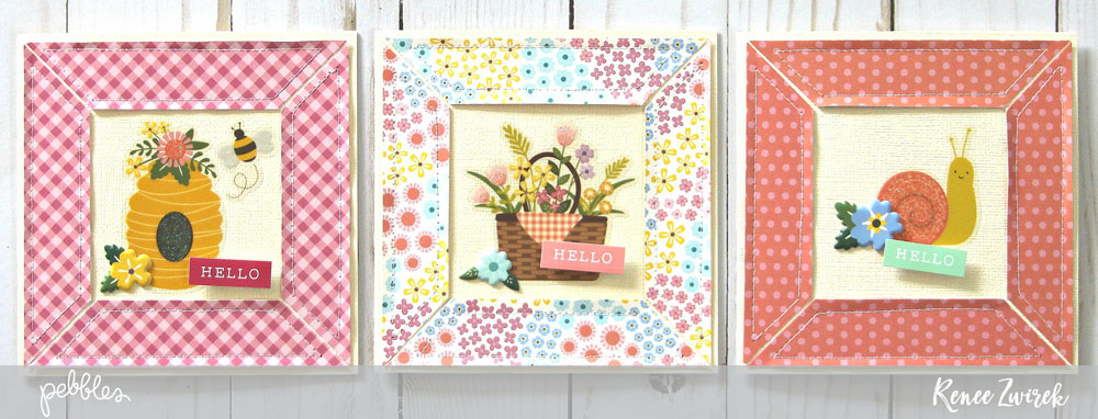Send warm and sunny wishes this spring with these simply sweet Hello Spring cards by @reneezwirek using the #Tealightful collection by @pebblesinc