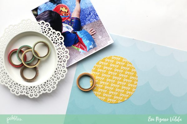 Learn how to use washi tape to add a fun element to your layout with this tutorial from @evapizarrov, featuring the new #sunshinydays collection by @pebblesinc. #pebblesinc #madewithpebbles
