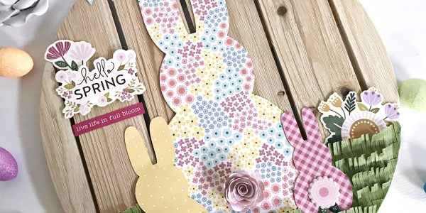 "DIY Easter Decor and free cut file by @heatherleopard with the ""Tealightful"" collection by @PebblesInc #madewithpebbles #pebblesinc #DIYEaster #Easter #EasterHomeDecor #bunny #bunnycutfile"
