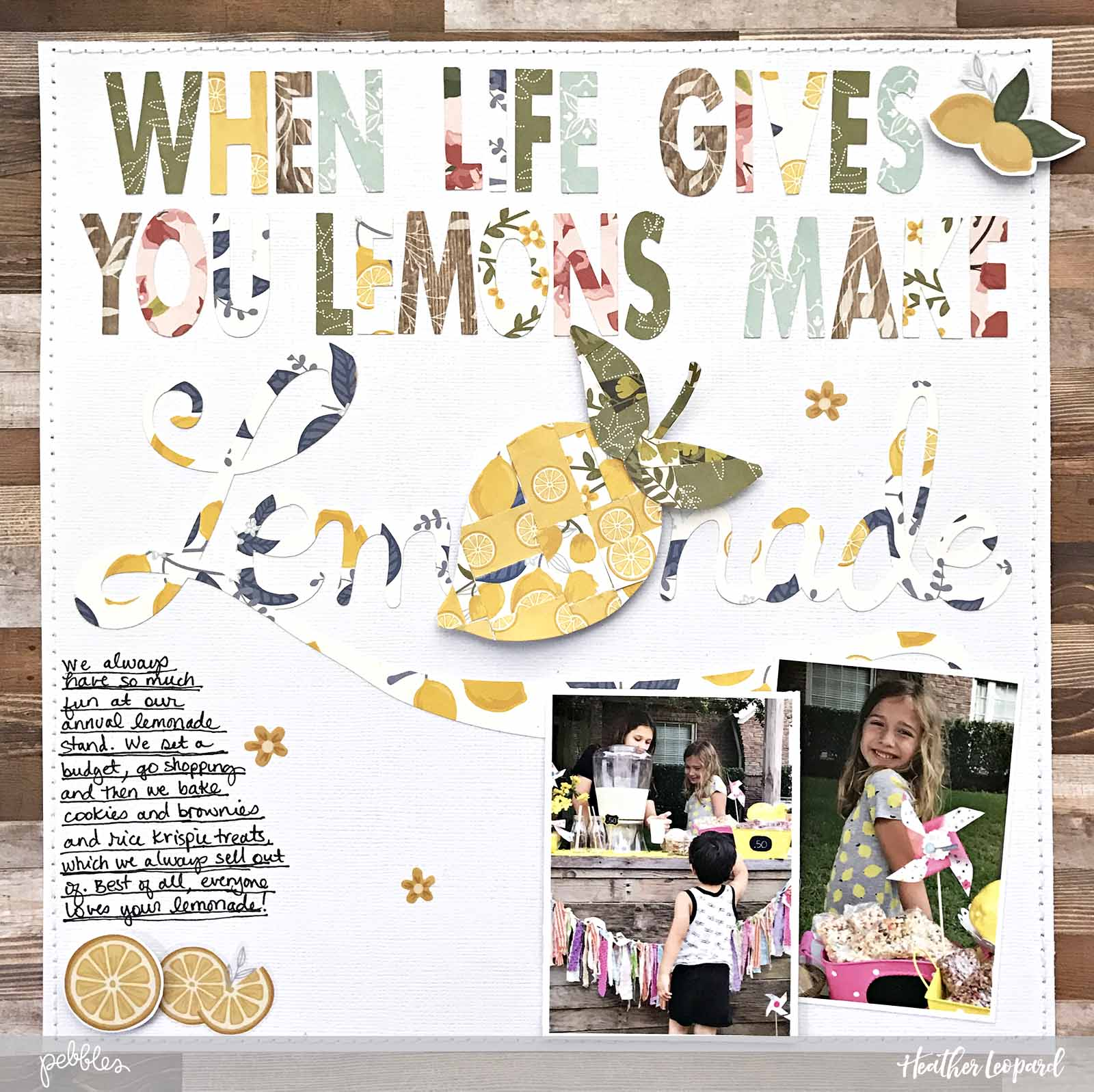 Make Lemonade Scrapbooking Layout by @heatherleopard using the @PebblesInc #jenhadfield #thesimplelife collection #scrapbooking #layout #lemonade #lemonadestand #madewithpebbles