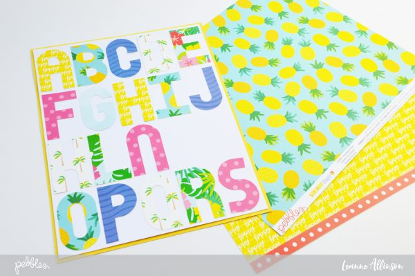 Mini Alphabet punch board and the @pebblesInc #SunshinyDays collection by @leanne_allinson.