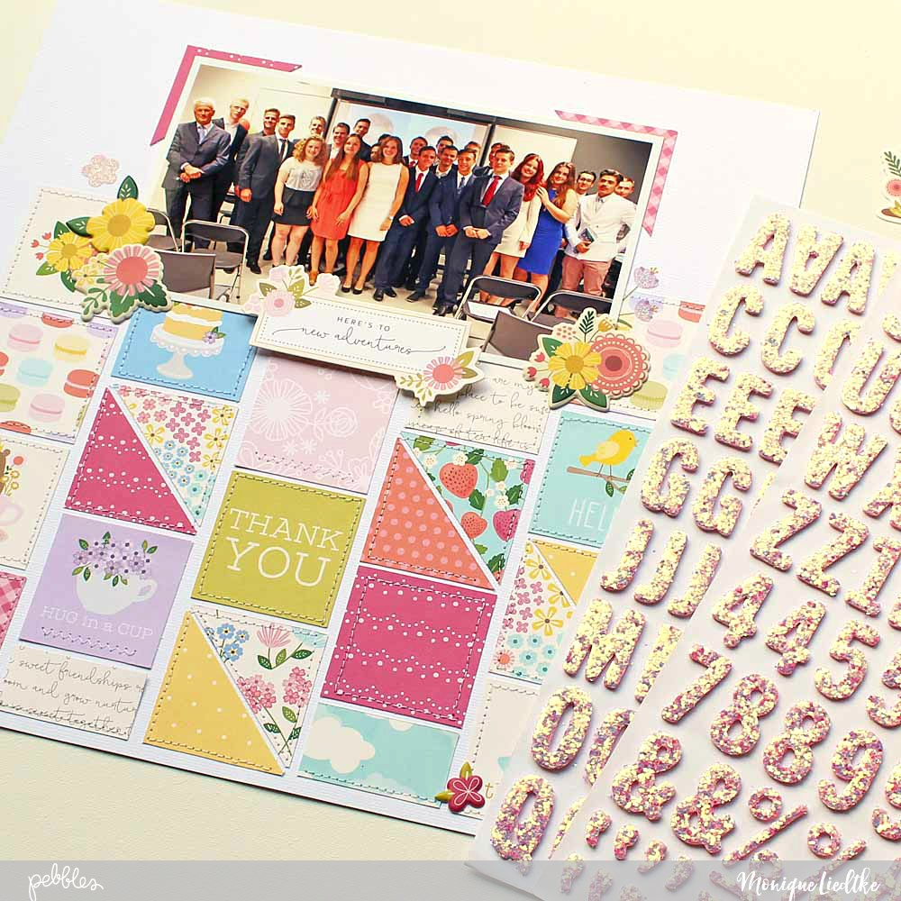 """A delightful Tealightful Graduation layout created by @moniqueliedtke with the """"Tealightful"""" collection by @PebblesInc #madewithpebbles #pebblesinc #scrapbook_layout"""