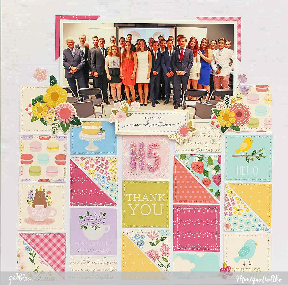 "A delightful Tealightful Graduation layout created by @moniqueliedtke with the ""Tealightful"" collection by @PebblesInc #madewithpebbles #pebblesinc #scrapbook_layout"