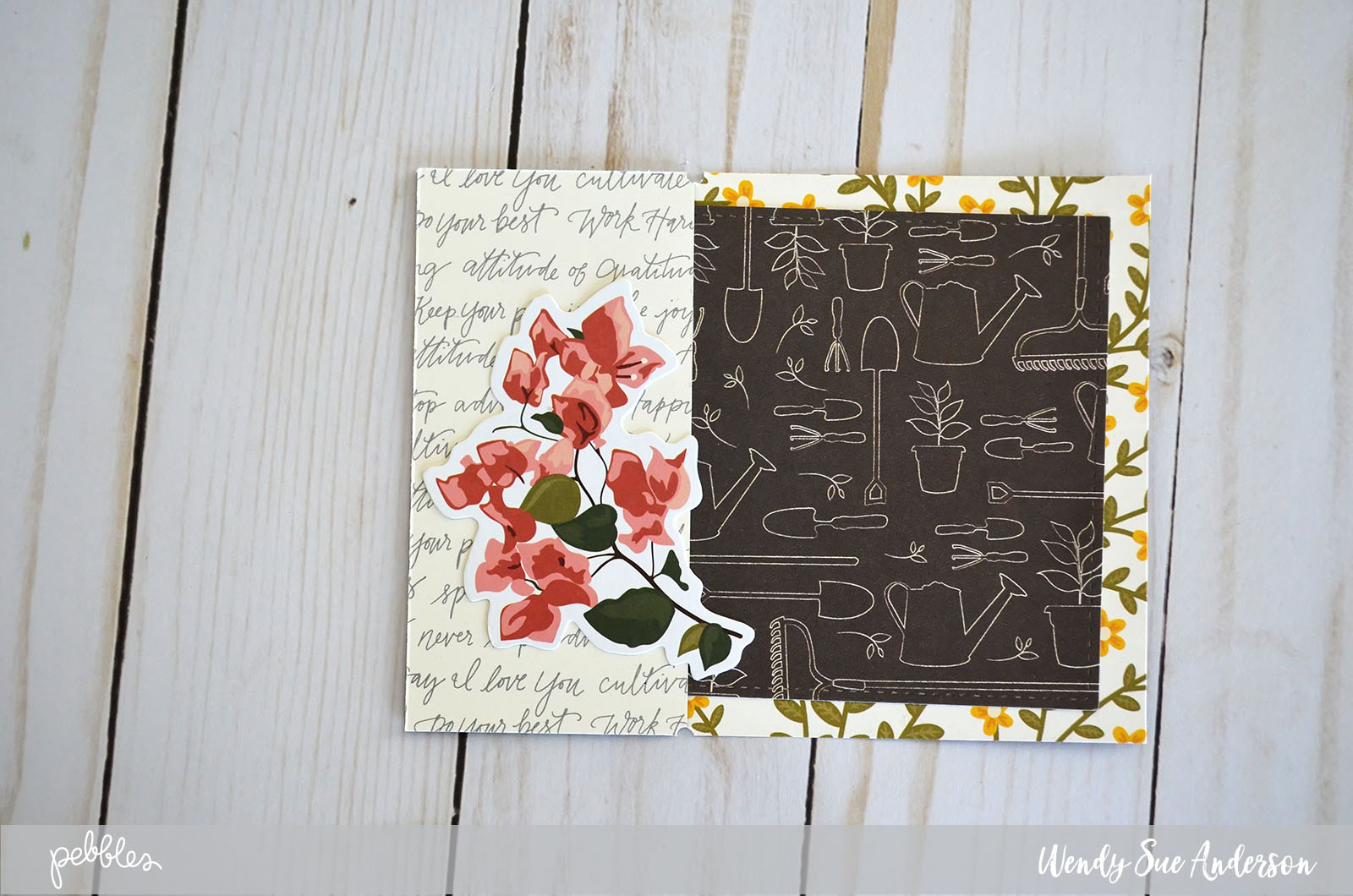 "Create these pretty floral cards inside and out by following the tutorial by @Wendysue with the new ""Simple Life"" collection by @pebblesinc."
