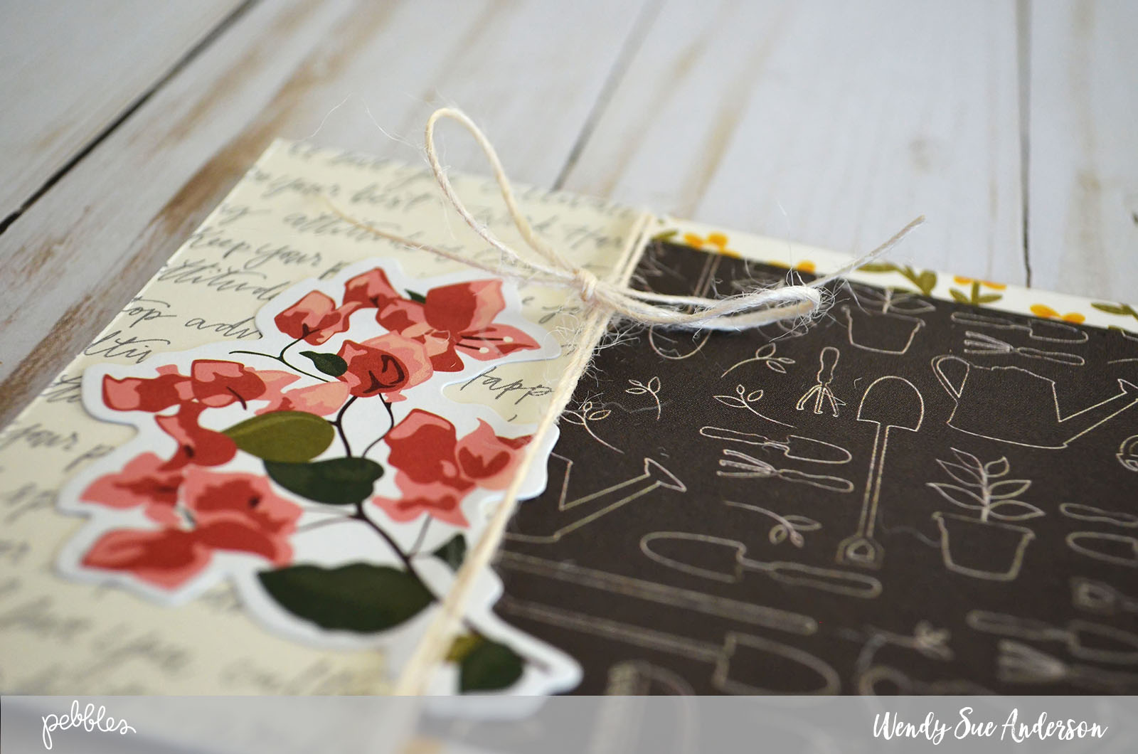 """Create these pretty floral cards inside and out by following the tutorial by @Wendysue with the new """"Simple Life"""" collection by @pebblesinc."""
