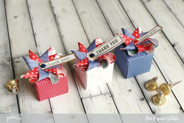 Make these quick pinwheel gift boxes to show gratitude on this Memorial Day, following this tutorial from @evapizarrov using @pebblesinc supplies #pebblesinc #madewithpebbles #gift #packaging