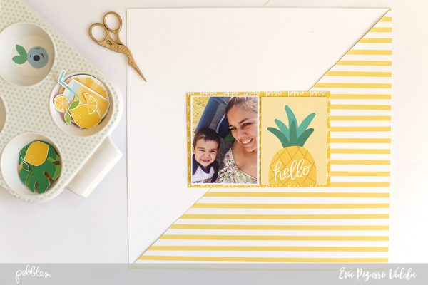 Make a bright and colorful monochromatic layout with this tutorial by @evapizarrov using the new #sunshinydays collection by @pebblesinc #pebblesinc #madewithpebbles