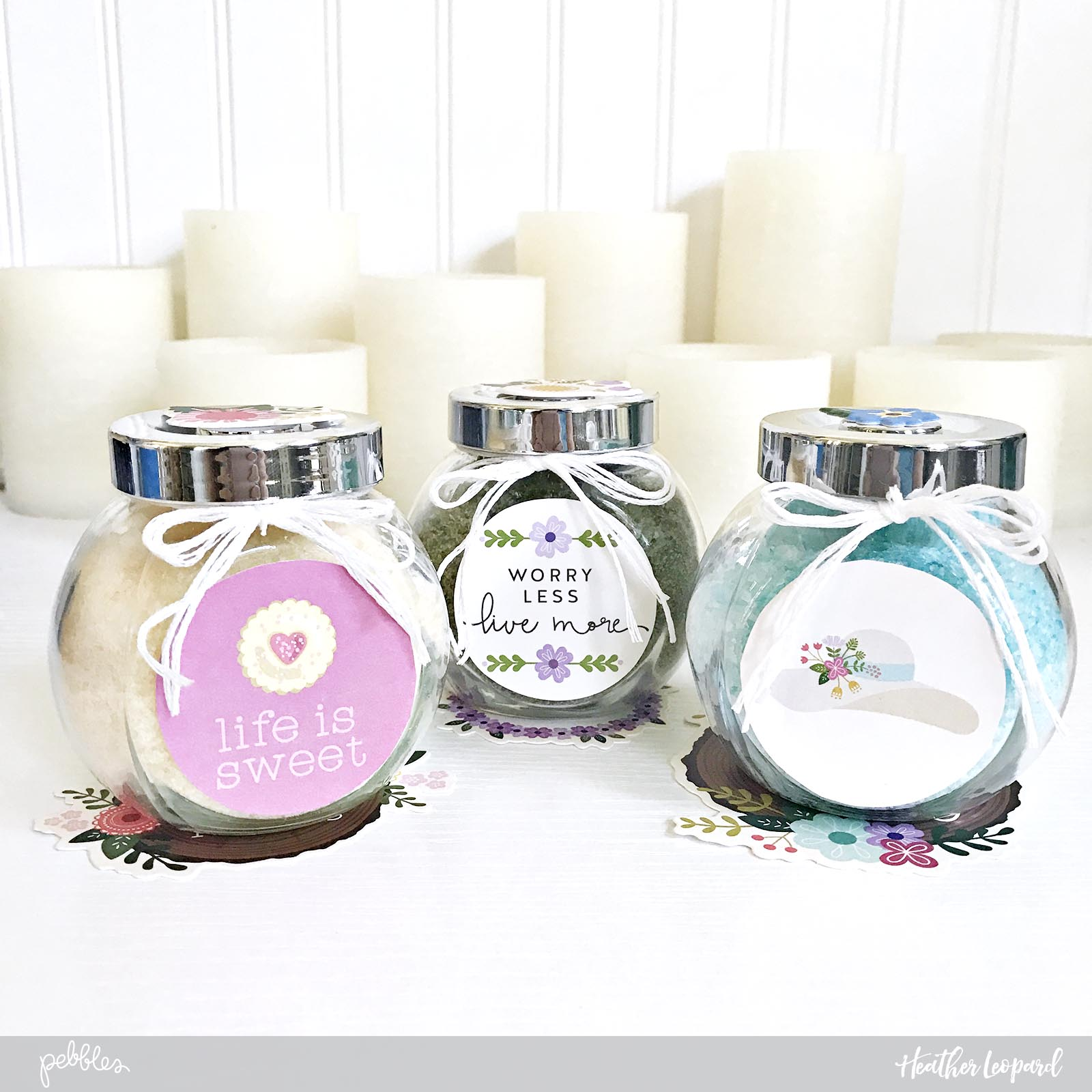 Bath Salts are perfect for a relaxing Mother's Day pampering. @heatherleopard shows you how to make these DIY Mother's Day gift at home using the #tealightful collection by @pebblesinc