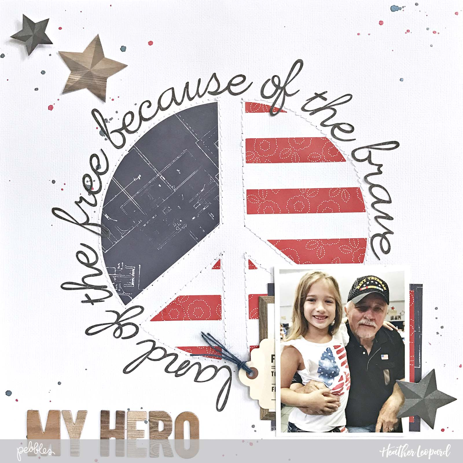 Patriotic layout by @heatherleopard using @pebblesinc @jenhadfield #SimpleLife collection #scrapbooking #scrapbook #patriotic #peaceflag #peace