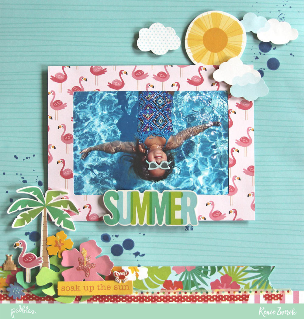 Document those relaxing pool days with this Summer poolside layout by @reneezwirek using the #sunshinydays collection by @pebblesinc