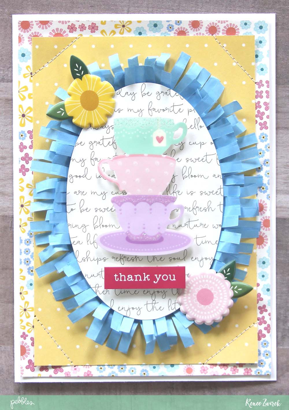 Teacher Thank You cards perfect for Teacher Appreciation Week or the end of the school year by @reneezwirek using the #Tealightful collection by @pebblesinc