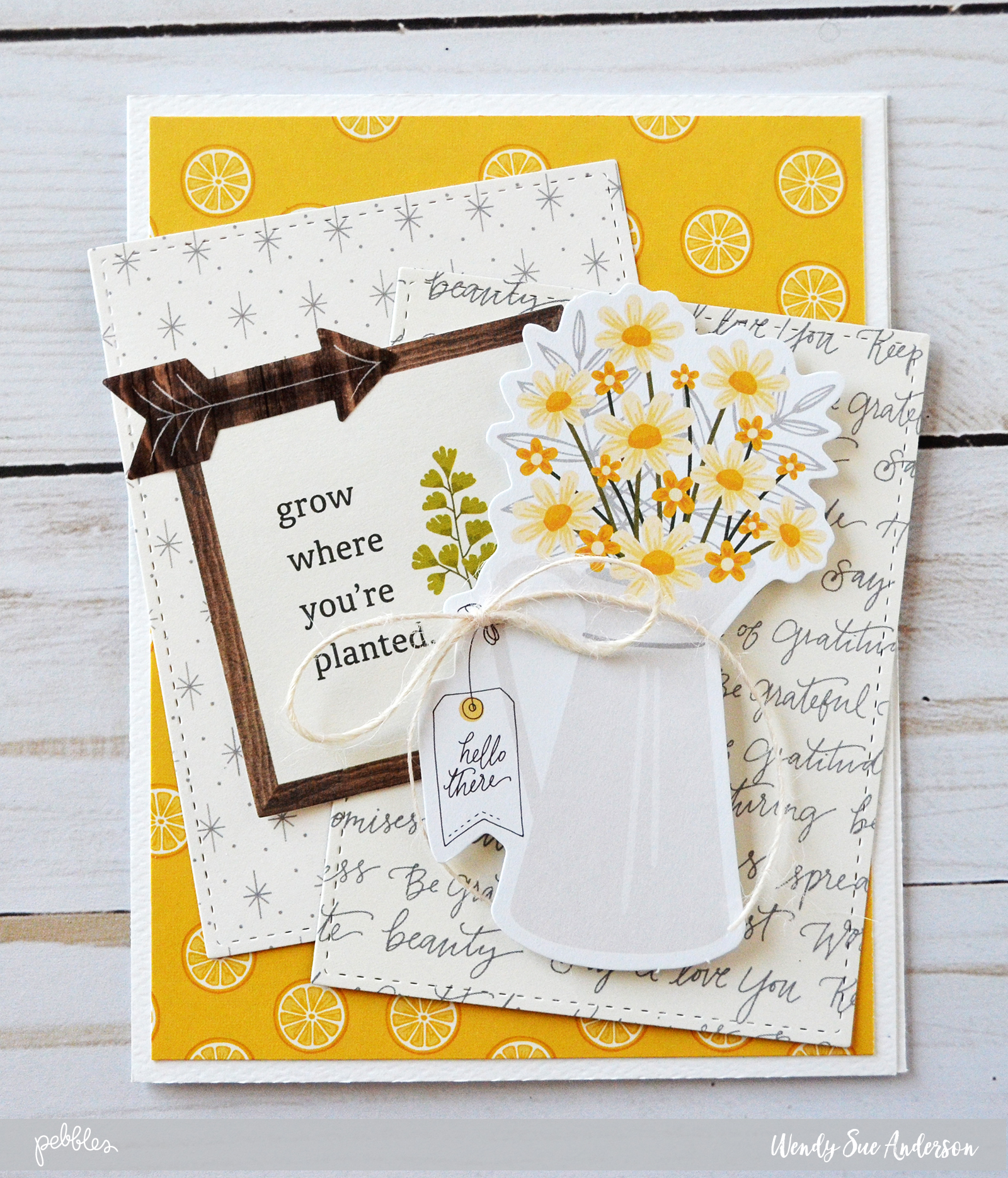 How to create layered cards with the simple life pebbles inc another fun thing about layered cards is that you can use different types of elements i added a printed wood veneer piece and a few layered stickers in the kristyandbryce Images